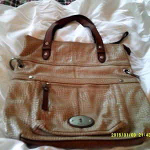 Fossil Beige Reptile-embossed Maddox Bag